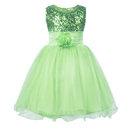JerrisApparel Little Girls Sequin Mesh Flower Ball Gown Party Dress Tulle Prom (5, Light Green)