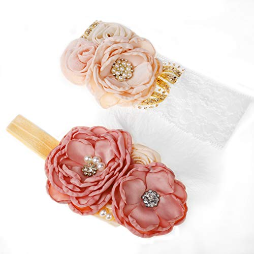 Yunko 2pcs Baby Girl Elastic Headbands Princess Hairband Party Feather Headbands Pink ()