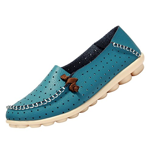 Optimal Womens Leather Driving Slip-On Soft Sole Loafers Boat Shoes Blue g0wXPoa7w9