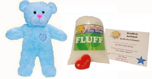 (Make Your Own Stuffed Animal Mini 8 Inch Blue Patch Heart Teddy Bear Kit - No Sewing Required!)