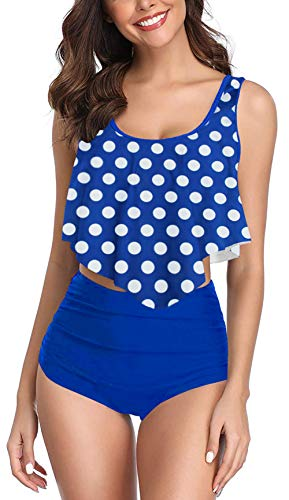Aixy Women's Polka Dot Swimsuits Two Piece Flounce High Waisted Tummy Control Swimwear
