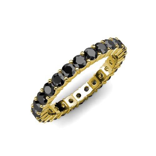 Black Diamond Common Prong Eternity Band 2.10 ct tw to 2.52 ct tw in 14K Yellow Gold.size 6.0 (Tw 2ct Eternity Diamond Band)