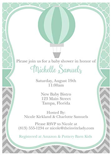 Hot Air Balloon Baby Shower Invitations Up Up and Away Sprinkle Invites Chevron Stripes Quatrefoil Trellis Personalize for Any Event Mint Gray Grey Gender Neutral Birthday Party Bridal (10 Count)]()