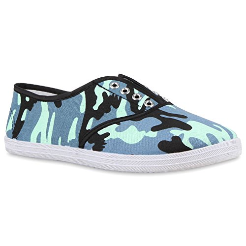Herren Slip-Ons Prints Sneakers Slipper Canvas Schuh Camouflage Flandell Blau