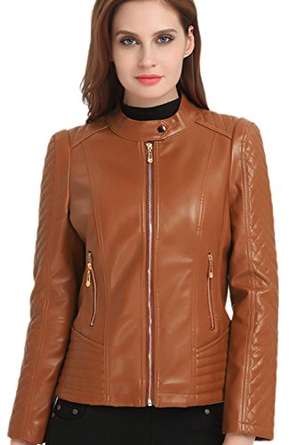 Chaqueta Cremallera PU marrón Elegante Calida Outwear Stand La Motero Cuello Delgado Mujer 8qTXIwxwp