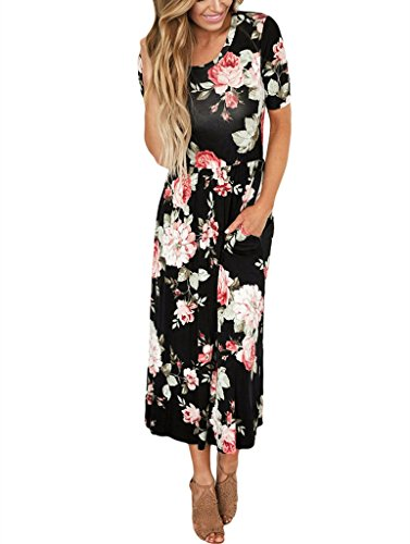 JomeDesign Women's Casual Short Sleeve Round Neck Pockets Maxi Floral Dress,Black,S