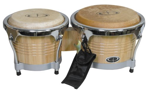 GP Percussion B10 Pro-Series Tunable Bongos 6.5 & 8 Inch (Clear Finish, Hickory) by GP Percussion