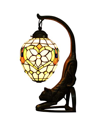 (ZYear Baroque Style Flower Lantern Vintage Cat Table Lamp, Antique Bronze and Stained Glass Shade)