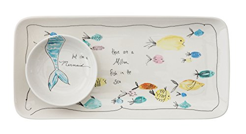 Creative Co-Op Rectangle Stoneware Plate with Fish Images and Matching Bowl