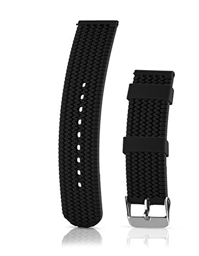 Silicone Replacement Watch Band - Quick Release Soft Rubber Strap - Waterproof, Textured Tire Pattern (22mm, Black) ()