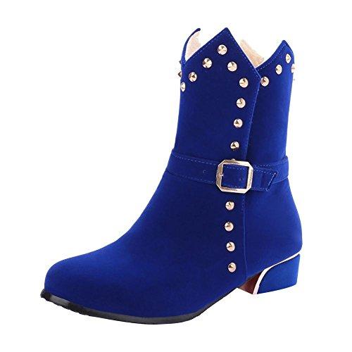 Mee Shoes Damen chunky heels kurzschaft Nubukleder Stiefel Blau