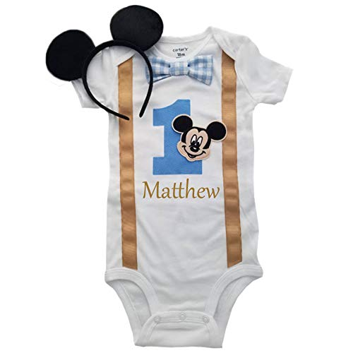 Perfect Pairz Baby Boys 1st Birthday Outfit Mickey Mouse Bodysuit Personalized]()