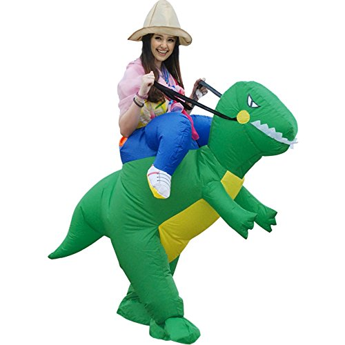 [T-Rex Dinosaur Inflatable Halloween Dress Party Costume Dino Rider Kid Adult (Adult)] (Snorlax Costume Dress)