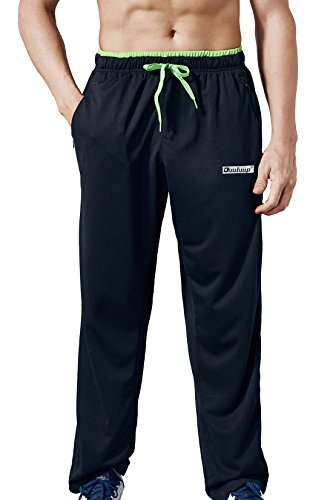 Duuluup Men Sport Pants - Quick Dry Active Sports Sweatpants Color Mixing with Zipper Pockets(Black,M) (Mens Pants Athletic Active)