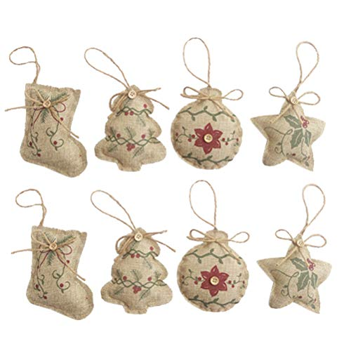 VORCOOL Christmas Tree Ornaments Stocking Decorations - 8pcs Christmas Stocking Tree Ball Star Holiday Party Decor]()