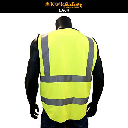 KwikSafety (Charlotte, NC) SUPERIOR (9 Pockets) Class 2 ANSI High Visibility Reflective Safety Vest Heavy Duty Mesh Zipper and Hi Vis Construction Surveying Engineering Work HiViz Men Yellow XX-Large by KwikSafety (Image #2)
