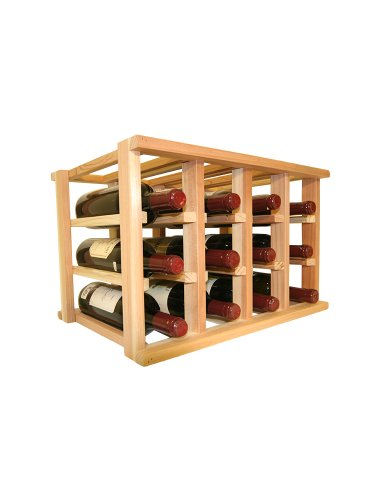 Wooden Wine Rack - 12 Bottle Wine Rack - No Assembly Required - Countertop or Stackable