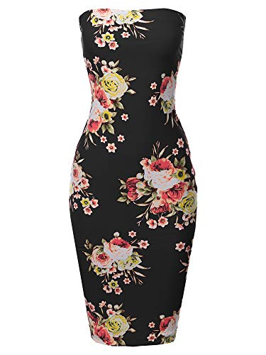 Super Sexy Tube Top Bodycon Vertical Strips Midi Dress Black Red Floral 2XL ()