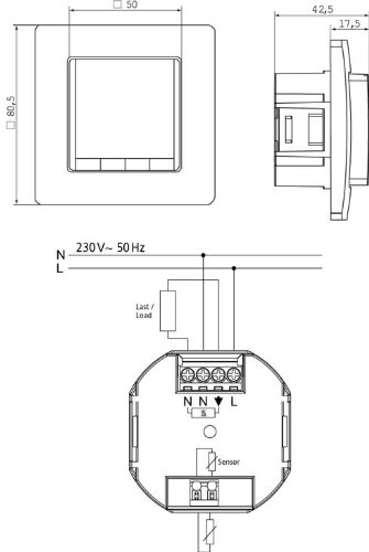 Digitales Unterputz Uhrenthermostat mit 50x50mm Abdeckung: Amazon.de ...