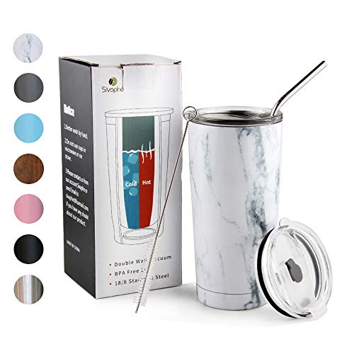 20oz Tumbler with Lid and Straw Stainless Steel Insulated Travel Coffee Mug Marble Power Coated Thermal Cup Dishwasher Safty