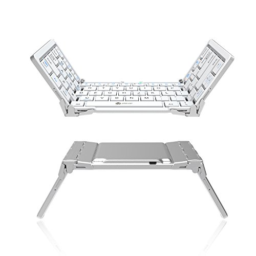 iClever Portable Folding Keyboard, Ultra Slim Pocket Size Bluetooth Keyboard Wireless with Carry Pouch, Premium Aluminum Alloy Housing, Designed for IOS Android Windows for Better Typing (White)