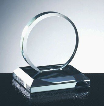 Clear Glass Circle Award with Beveled Edge Base - Large