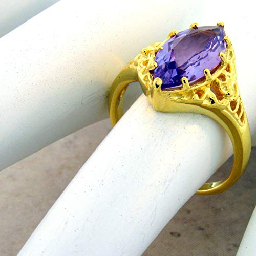 - Genuine Amethyst 24K Gold & 925 Sterling Silver Antique Style Ring Size 8 KN-4863