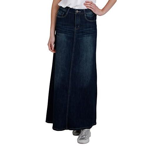Womens full length denim skirt dark wash maxi long skirt (94) 85 ...