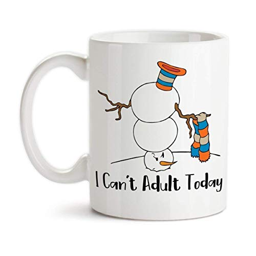 I Can't Adult Today Grumpy Funny Snowman Snow Person Ceramic Coffee ()
