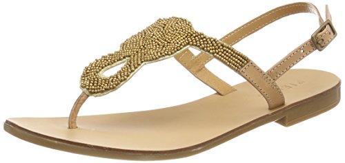 PIECES Damen Pscarmen Leather Sandal Zehentrenner Beige (Nude - Gold Beads)