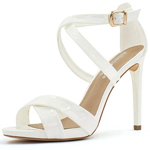 Allegra K Womens Crisscross High Heel Sandals White