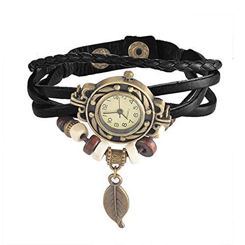 Lady Retro Wrist Watch Weave Wrap Bead Leaf Dangle Bracelet Bangle Quartz Watch 2019 Deals!Gift Holiday Present (Black)