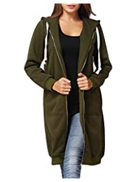 Romacci Women Hoodie Long Hooded Sweatshirts Casual Outerwear Jacket