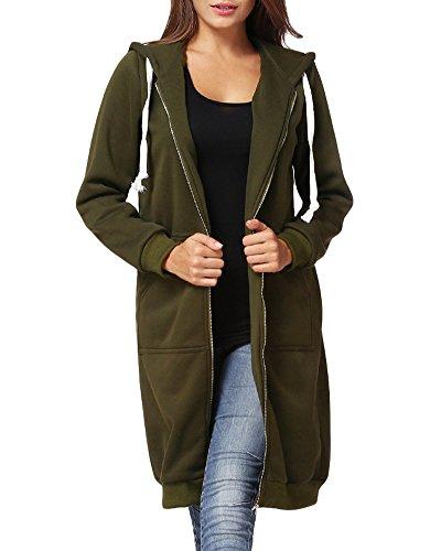Romacci Women's Casual Zip up Hoodies Pockets Tunic Sweatshirt Long Hoodie Outerwear Jacket Dress Plus Size Deep Green