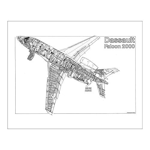 Media Storehouse 10x8 Print of Dassault Falcon 2000 Cutaway Drawing (1569913)