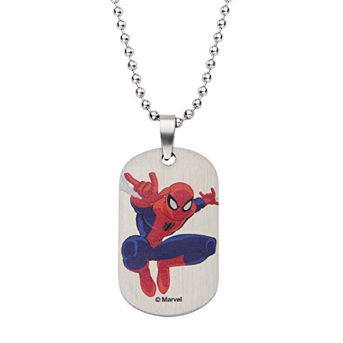 Marvel Comics Boys' Stainless Steel Spiderman Dog Tag Chain Pendant Necklace, 16″