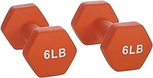 AmazonBasics Neoprene Dumbbells 6-Pound, Set of 2, Orange