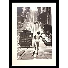 buyartforless FRAMED Racing The Trolley Car by Jack Gescheidt 27.5x19.75 Art Print Poster Photograph Naked Man San Francisco Gay Interest Humor Nude Man