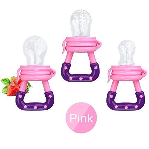 3 Pack Baby Food Feeder Fruit Food Silicone Nipple Teething Toy Reusable Aching Gums Pacifier,Pink