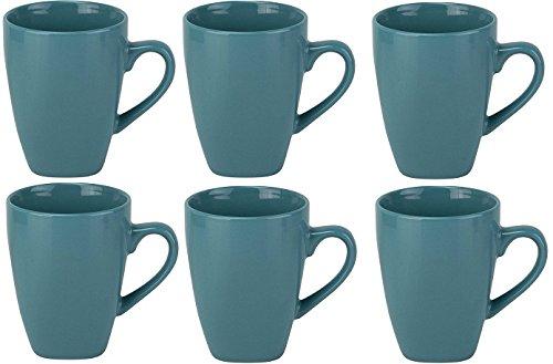 10 Strawberry Street Nova Square 10 oz Mugs, Aqua, Set of 6 (Strawberry Ten Street Nova)