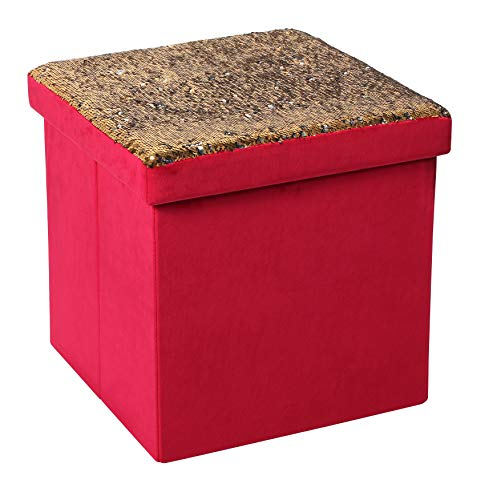 B FSOBEIIALEO Velvet Storage Ottomans Cube Room Organizer, Shoes Bench Seat Coffee Table Foot Stool Footrest, Red ()