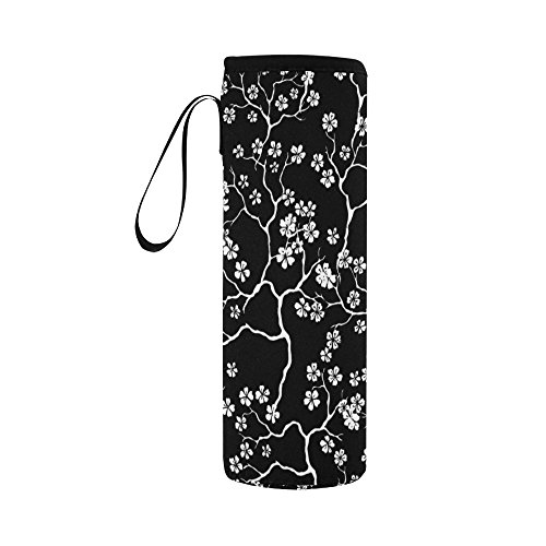 INTERESTPRINT Cherry Blossoms Black and White Neoprene Water Bottle Sleeve Insulated Holder Bag 16.90oz-21.12oz, Flowers Floral Sport Outdoor Protable Cooler Carrier Case Pouch Cover with Handle ()