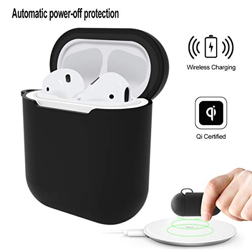 JuQBanke Qi AirPod Wireless Charging Case Compatible for AirPod Charging case, AirPod Accessories Skin Shockproof Protective case Cover Skin for Apple AirPods 2&1 case(Front LED Not Visible)