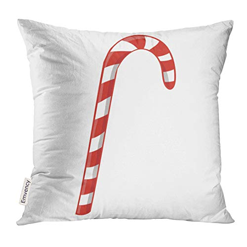 UPOOS Throw Pillow Cover Red Celebration for New Year Candy Cane White Christmas Dessert Decorative Pillow Case Home Decor Square 18x18 Inches -