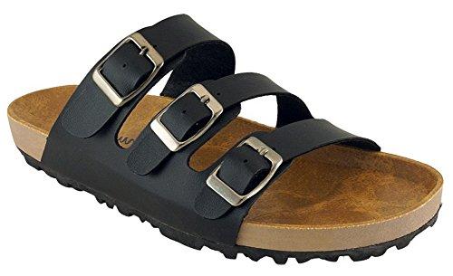 Sandalo Slittamento A Piattaforma Piatta Con Fibbia A 3 Cinturini, Cambridge Select, Colore Nero