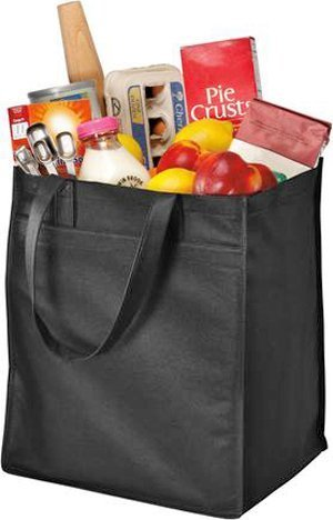 Port & Company Grocery Tote - Port & Company - Extra-Wide Polypropylene Grocery Tote. B160 One size, Black by Port & Company