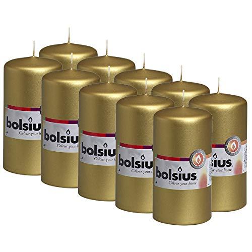 BOLSIUS Gold Pillar Candles - 10 Pack - 32 Hours Burning Time - 2.25-inch x 4.75-inch Dripless Candle - Perfect for Wedding Candles, Parties and Special Occasions