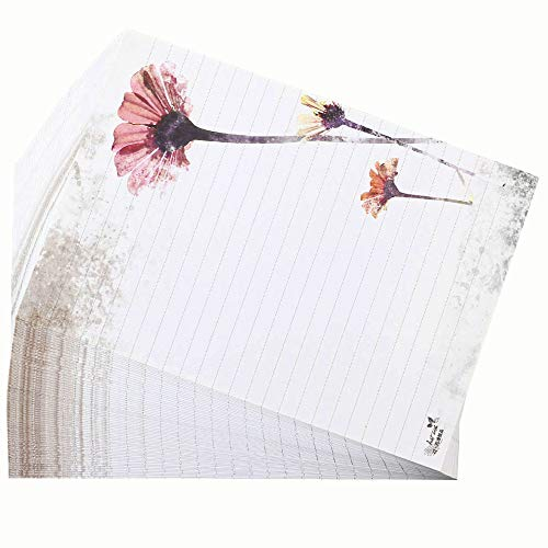 Bolbove 64 Pcs Lovely Flower Cute Plant Elegant Letter Writing Stationery White Paper Lined Sheets (African Daisy)