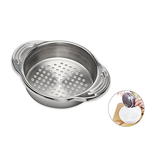 Food Canned Strainer Stainless Steel Tuna Presstin Sieve Lid Oil Drainer Remover JarWaterFilter Kitchen Gadget with WithHandle ()
