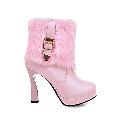 Allhqfashion Women's Round Closed Toe Low-top High-Heels Solid PU Boots Pink ate0Zk
